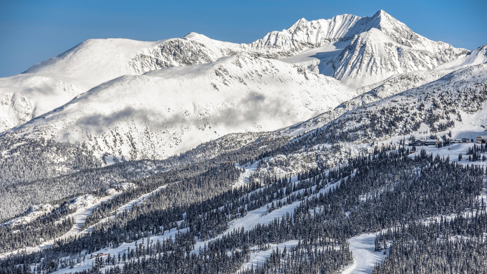 snowy blackcomb mountain in whistler bc